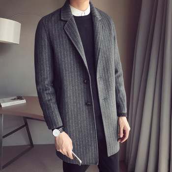 Mens Trench Coat England Style Medium Long Blazer Autumn Winter Business Striped Lapel Single Breasted Outerwear Plus Size 5XL