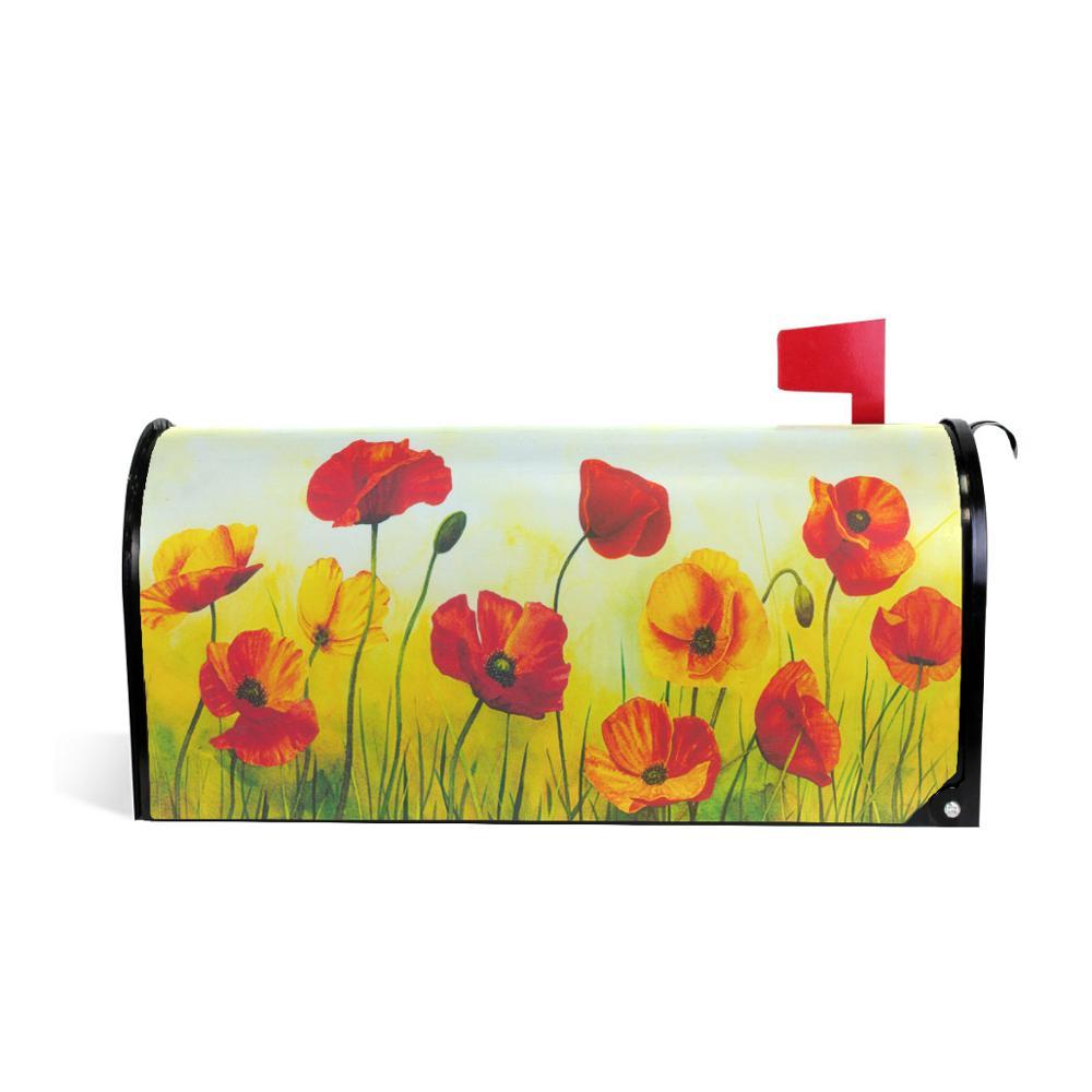 Художественная Обложка для почтового ящика с красными цветами мака Весенняя картина с лужайкой Чехлы для почтовых ящиков магнитные почтовые обертки почтовая коробка большой размер - Цвет: Красный
