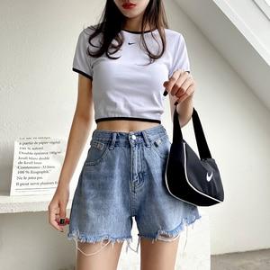 GUUZYUVIZ Blue Hot Pants Jeans High Waits Denim Short Jeans Feminino Hold Tassel Korean Summer 2020 Loose Plus Size(China)