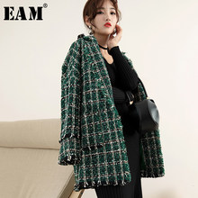 [EAM] Losse Fit Green Plaid Tweed Big Size Wollen Jas Parka Nieuwe Lange Mouw Vrouwen Mode Tij Herfst winter 2019 1H644(China)