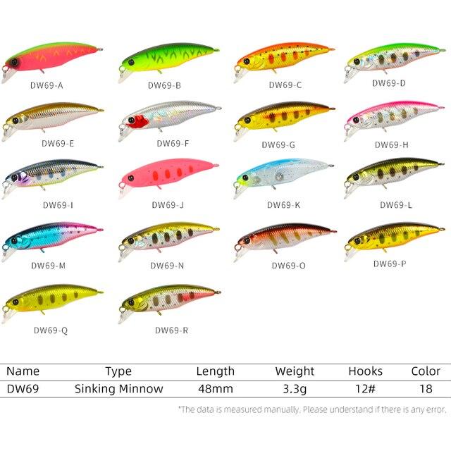TSURINOYA 48S leurre de pêche coulant vairon Wobblers DW69 48mm 3.3g Jerkbait dur leurre truite basse appât 18 couleurs manivelle Isca