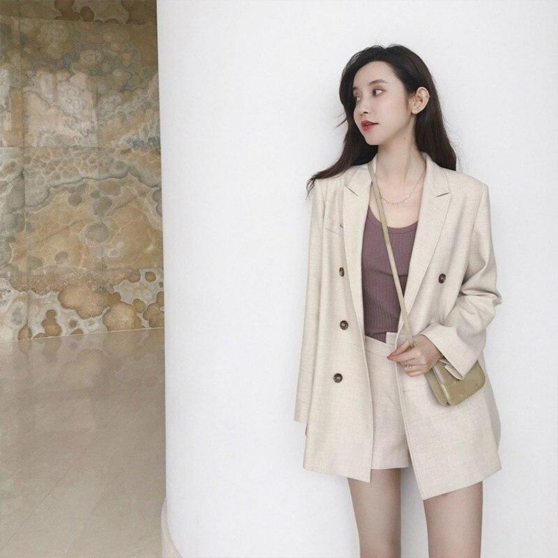 Boyfriend Casual Long Sleeve Loose Fit Blazer & Shorts Two Piece Set Women Suits Spring Summer Solid Color Coat Short Pants Set