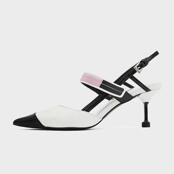 Wysokie obcasy 2021 letnie nowe dopasowane kolory szpiczasty nosek modne sandały damskie buty Casual wszystkie mecze wygodne pojedyncze buty tanie i dobre opinie oausihcbuiwx Pantofle Szpilki CN (pochodzenie) Mikrofibra Z niewielkim szpicem Med (3 cm-5 cm) Dobrze pasuje do rozmiaru wybierz swój normalny rozmiar