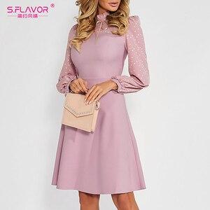 Image 3 - S.FLAVOR Hot Sale Vintage Patchwork A line Dresses Women Autumn Winter Long Sleeve Turtleneck Casual Dress Female Pencil Dress