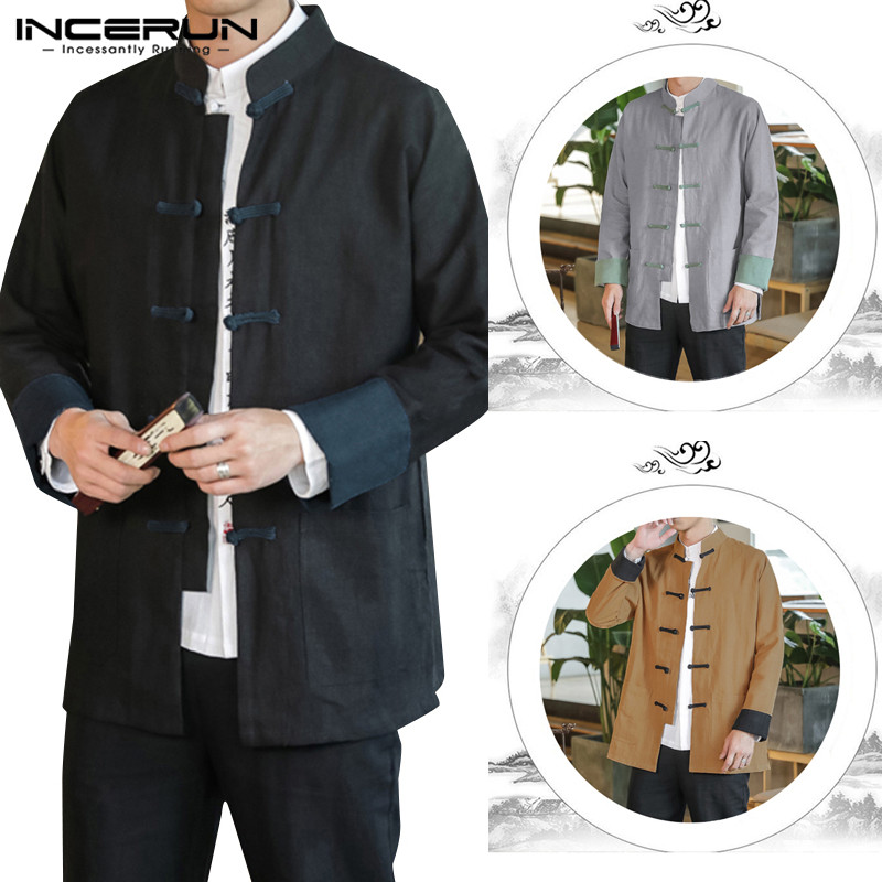INCERUN Traditional Tang Suit Men Solid Collar Cotton Casual Shirt Chinese Style Fashion Joker Buckle Retro Street Mens Blouse