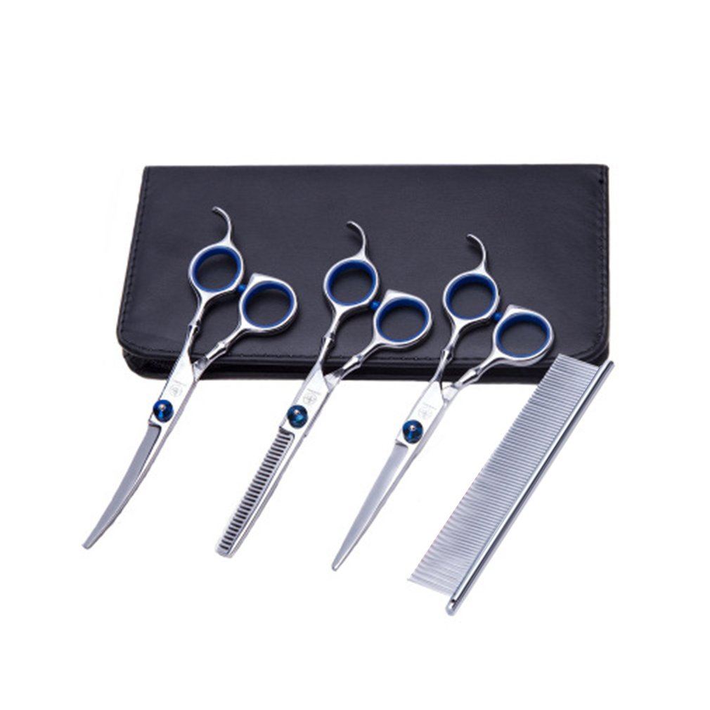 5Pcs/Set Professional Salon Barber Scissors Hairdressing Shears Haircut Tool Kit With Comb For Pet Grooming Hair Styling