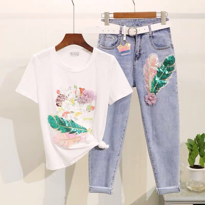 L Longsheng European Station Pearl Feather Cloth Short Sleeve Women's Clothing DIY Decoration With Sequins Zhangzi Ye Zihua