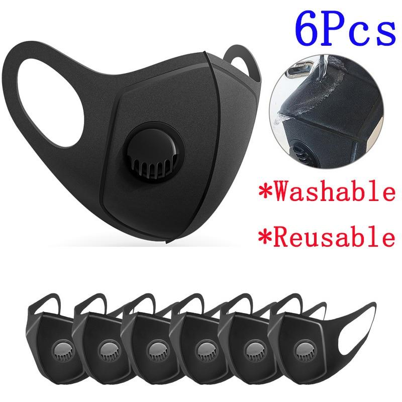 6Pcs Reusable Mask Sponge Protect Mouth Mask Breathing Valve Filter Unisex Washable Dust Masks Prevent Flu Saliva Respirator