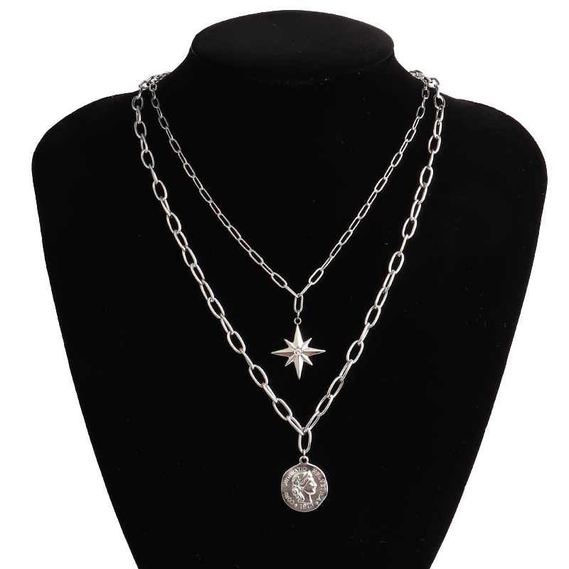 Stainless Steel Bohemian Multi Layered necklace women Vintage Portrait Coin Star Pendant Necklace animal jewelry Thick necklace