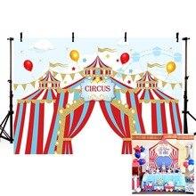 Mehofond Circus Achtergronden Vinyl Rode Tent Gors Kinderen Verjaardagsfeestje Fotografie Achtergronden Voor Fotostudio Aangepaste