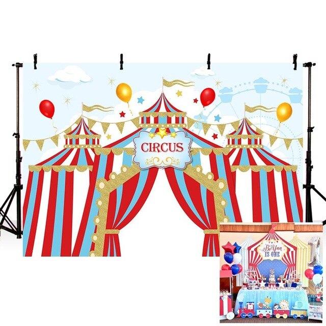 Mehofond sirk arka planında vinil kırmızı çadır Bunting çocuk doğum günü partisi fotoğrafçılık arka plan fotoğraf stüdyosu için özelleştirilmiş