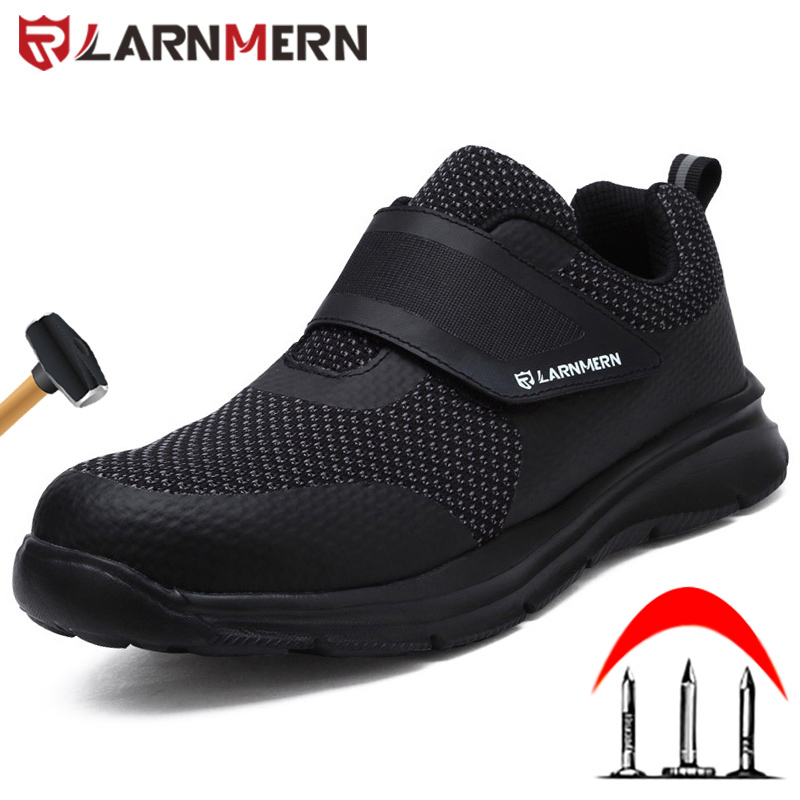 LARNMERN Work shoes Men's Steel Toe Safety Shoes Construction Protective Lightweight Shockproof Boots Hook&loop Sneakers safety