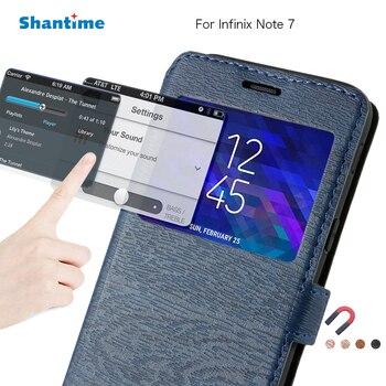 Перейти на Алиэкспресс и купить Чехол для телефона из искусственной кожи для Infinix Note 7 флип-кейс для Infinix Note 7 чехол для книги с окошком обзора Мягкий силиконовый чехол из ТПУ