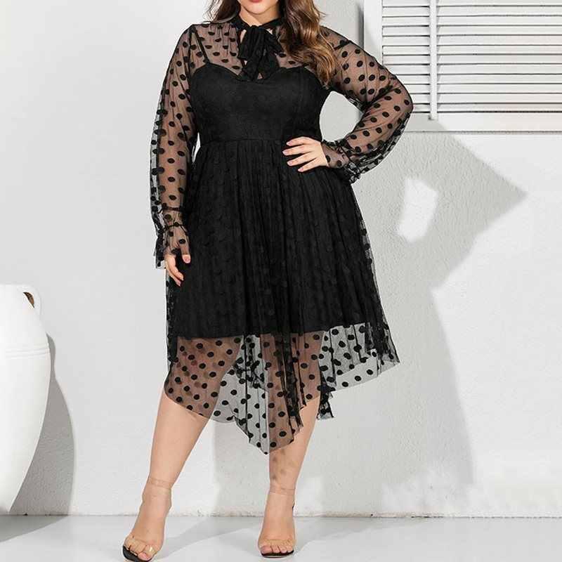 Размера плюс вечерние сексуальные Клубные африканские Черные Летние Осенние женские длинные платья повседневные с длинным рукавом сетчатые женские платья в горошек 4XL 5XL