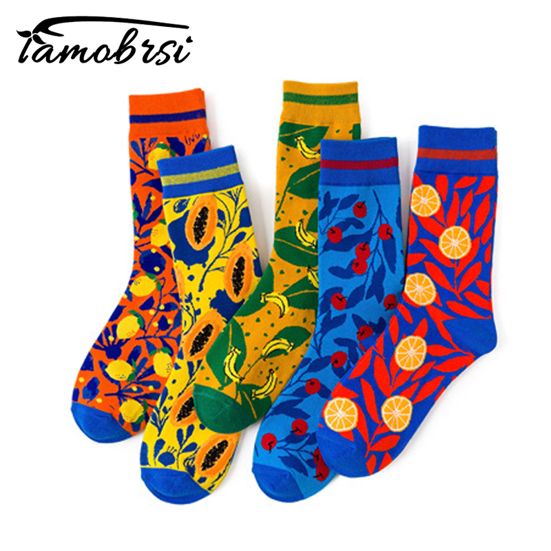 Fruit Banana Cherry Lemon Papaya Streetwear Short Cute Women Men Sock Warm Funny Short Kawaii Winter Cotton Happy Ankle Socks