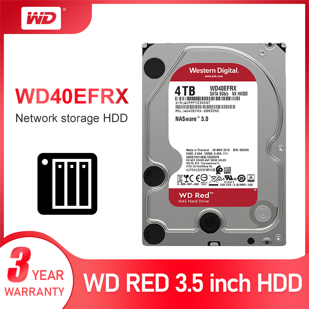 Western Digital WD Red NAS Hard Disk Drive 4TB - 5400 RPM Class SATA 6 GB/S 64 MB Cache 3.5-Inch For Decktop Nas