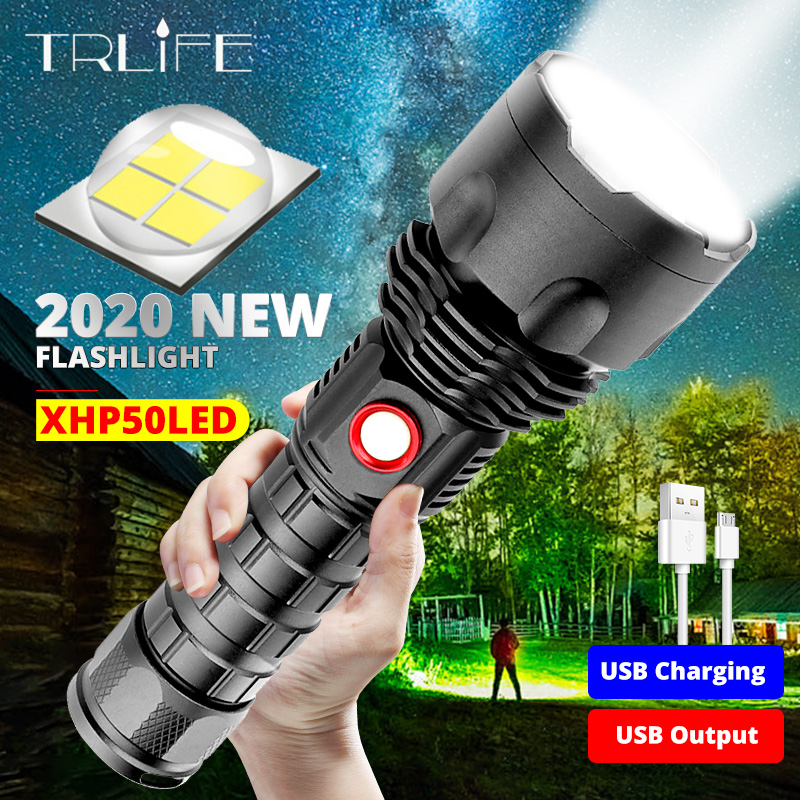 4 Quad-core XHP50 New Outdoor LED Strong Light High Power USB Rechargeable Flashlight Zoom Torch Use 26650 Lithium Battery