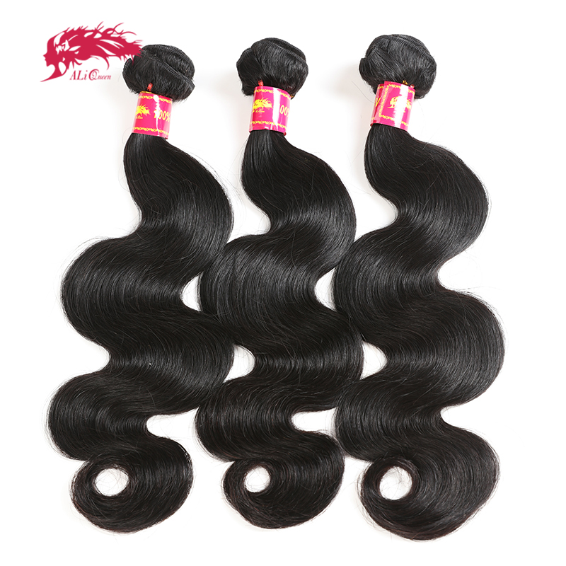 Ali Queen Hair Brazilian Body Wave Virgin Human Hair Weave Bundles Natural Color 8-30 Inches 3Pcs Lot 100% Human Hair Weaving