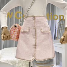Women Skirts Tweed High Waist Office Lady Autumn Winter 2019 New Items Korean Fashion Mini Skirt  A-Line Button Skirt fashion cute infant baby girl button a line mini skirts button party slim princess pageant skirt