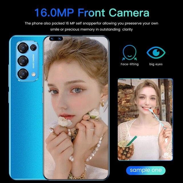 Smart Mobile Phone Reno 5 Pro 7.3Inch Cellphone 16MP+28MP Camera Telephone Full Screen Cheap Android Smartphone Telefone Celular 3