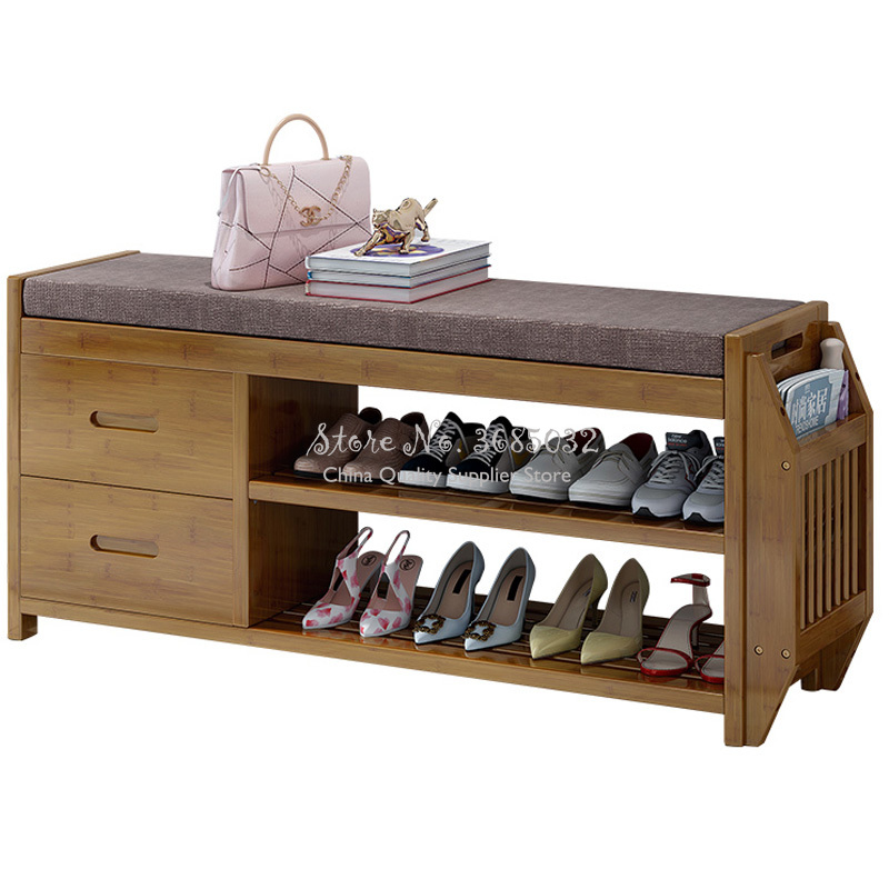 Solid Wood Shoes Bench Door Shoes Stool Home Nordic Modern Minimalist Bedroom Makeup Stools Shoes Organizers Shoe Rack Cabinet
