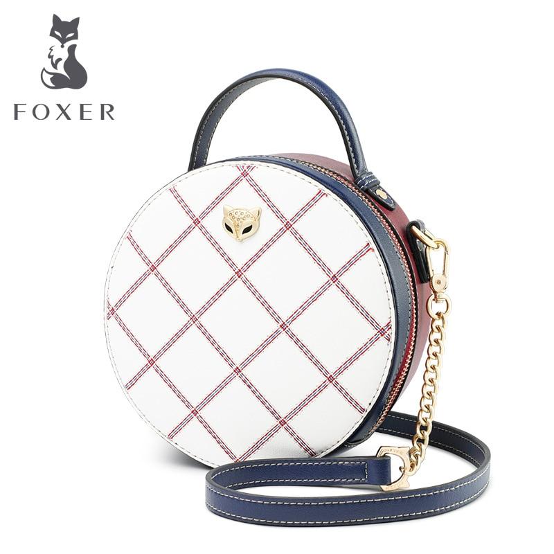 FOXER Mini Round Handbag Lady Split Leather Circular Crossbody Bags Female Stylish Cellphone Bag For Women Evening Bag 949011F