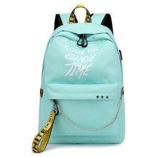 Boys Girls Luminous Lyrics Print SchoolBag Travel Waterproof Laptop Backpack цена 2017