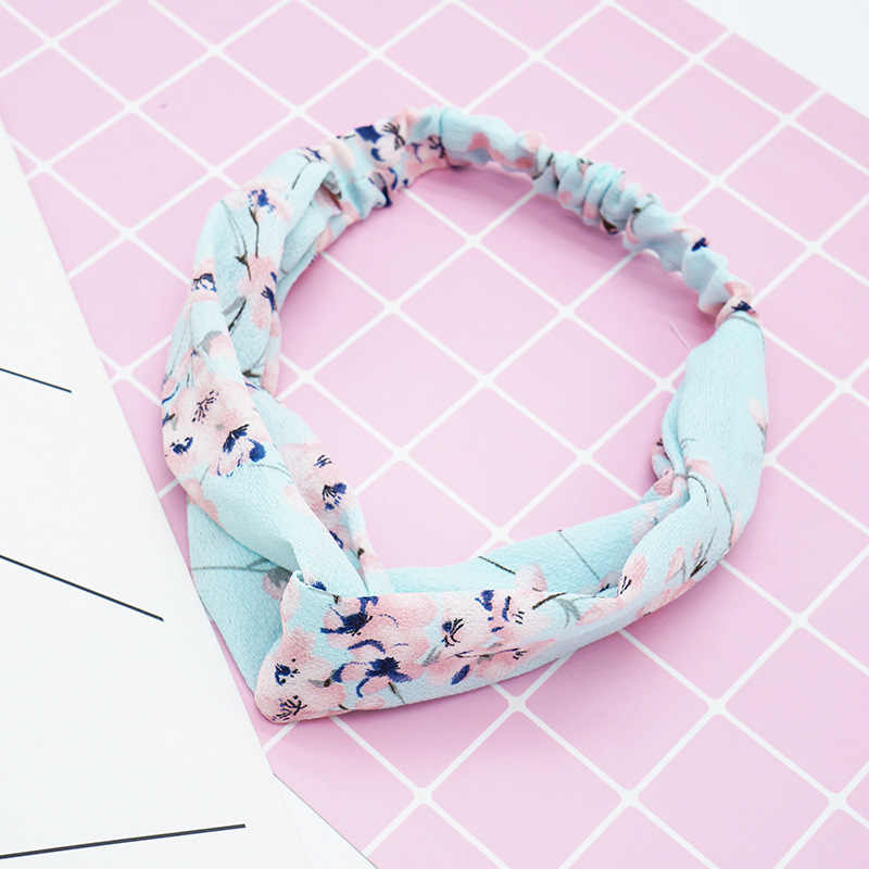 New Women Fashion Cross Knot Floral Turban Headbands Elastic Scrunchie Girls Chiffon Headwrap Korean Hair Accessories Bandanas