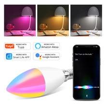Tuya wi fi inteligente lâmpada led e14 rgb cw regulável led controle de voz lâmpada mágica 5w vela trabalho com alexa google assistente casa