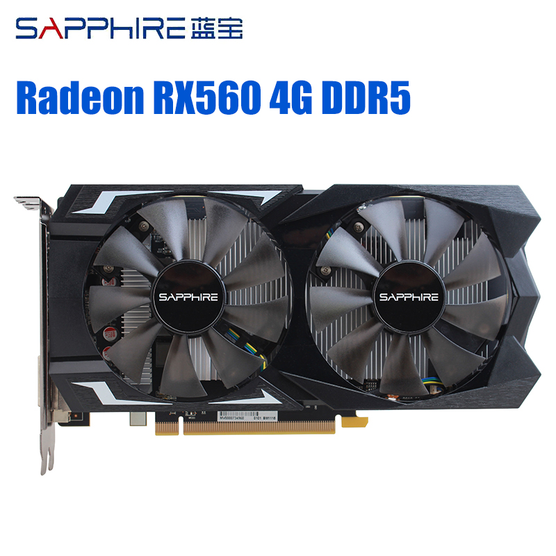 SAPPHIRE AMD Gaming Graphics Card Radeon RX560 4GB 128bit GDDR5 PCI Desktop RX560D Video Card For Gaming PC Used AMD Cards image