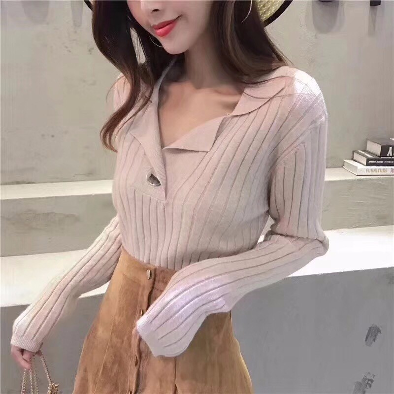 V Neck Winter Womens Pullover Sweaters Crew Neck Warm Knitted Long Sleeves Casual Jumper Top Knitwear Stretch Female Sweater