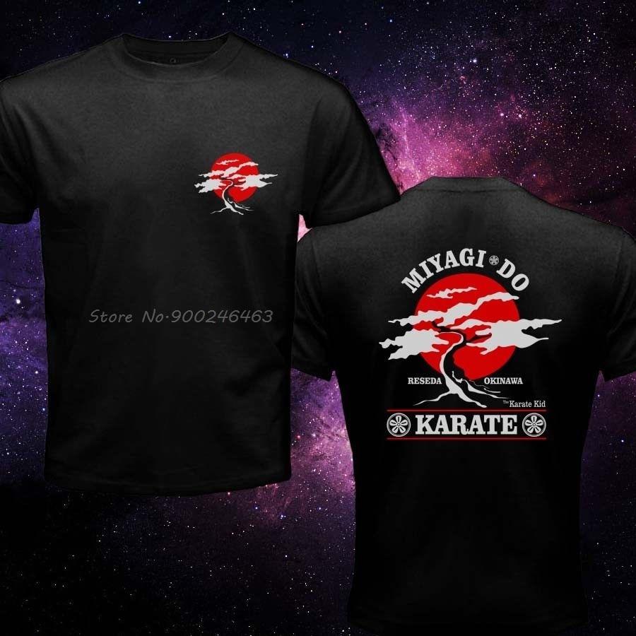 Miyagi inspirado karate criança japonês kung fu artes marciais pat morita marca homem camiseta nova roupa de algodão dos homens impresso t camisas