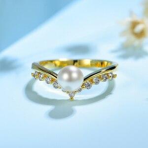 Image 4 - Kuololit 100% Moissanite 10K żółte złote pierścionki dla kobiet okrągły prawdziwy biały perła słodkowodna pierścionek zaręczynowy panna młoda prezent