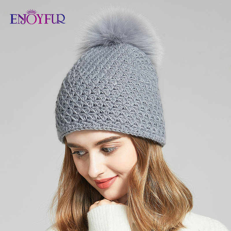 ENJOYFUR Handmade Quentes Chapéus de Inverno Para Mulheres Reais Fox/Pompom Gorros Mix-cor de Pele De Guaxinim Chapéu De Lã Para meninas