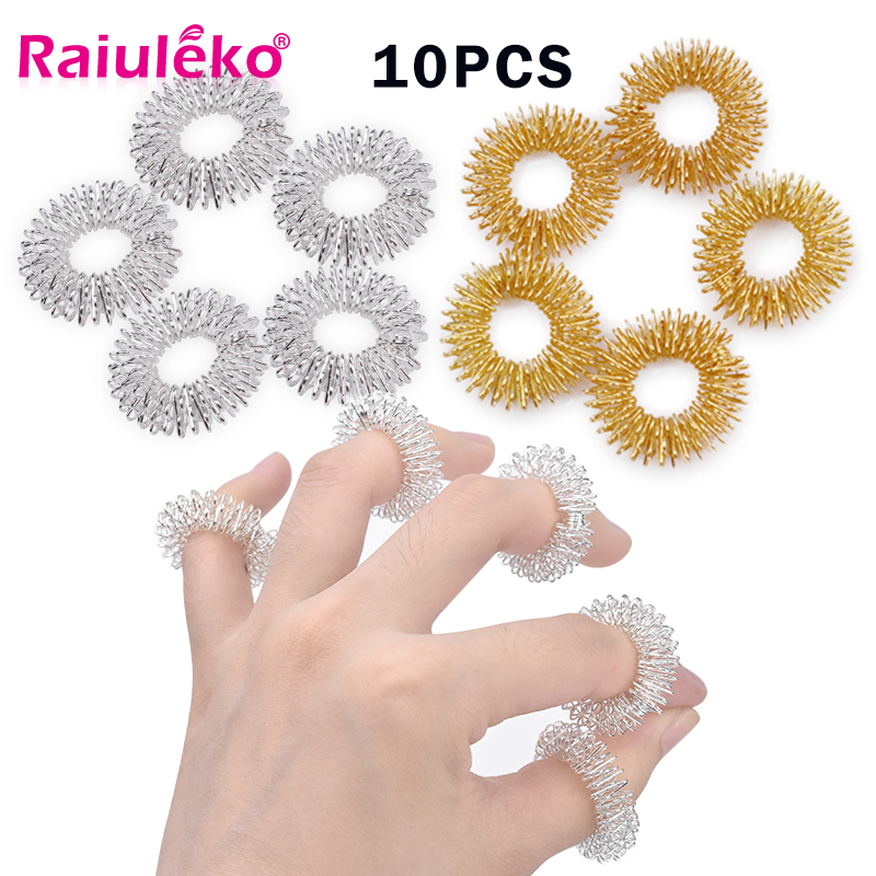 10pcs Finger Massager Acupressure Hand Massage Ring Pain Relief Stress Finger Lose Weight Hand Relax for Health Care 2 Colour