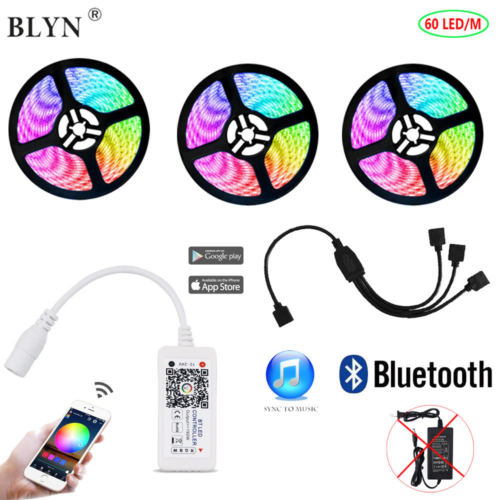 LED Bluetooth Strip RGB Controller 15M 10M 5M Flexible Tape Light Music Sync Light Smart Phone APP Control Party Backlight