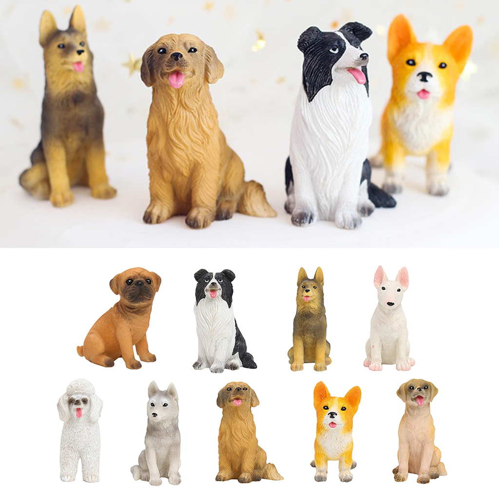 Mini Resin Dog Figures Hand Painted Puppy Ornament For Dollhouse Collection Cake Toppers Garden Statues Sculptures Aliexpress