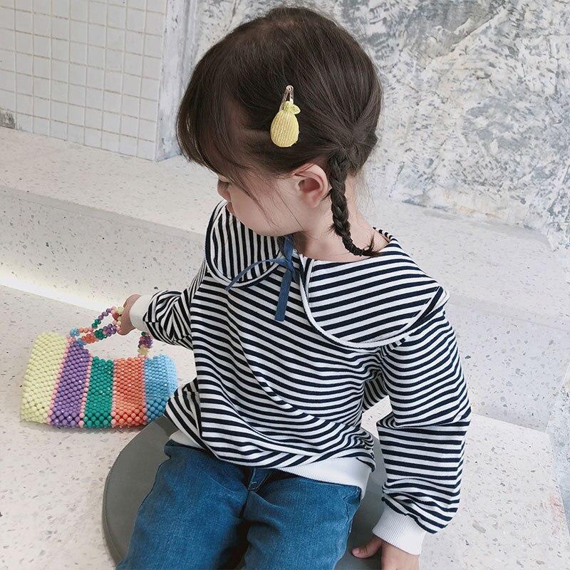 2019 new style girls striped t-shirt full sleeve autumn fashion girls sweatshirt 1-6t