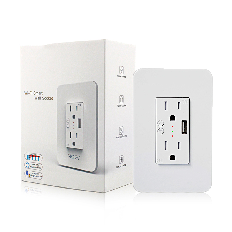 WiFi Power Wall Socket With USB 2 Plug Outlets Smart Life/Tuya APP Remote Timer And Counterdown Work Alexa Google Home/IFTTT