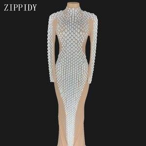 Блестящее длинное платье с большими жемчужинами и кристаллами для женщин; Роскошное вечернее платье; Танцевальный костюм; Праздничное плат...