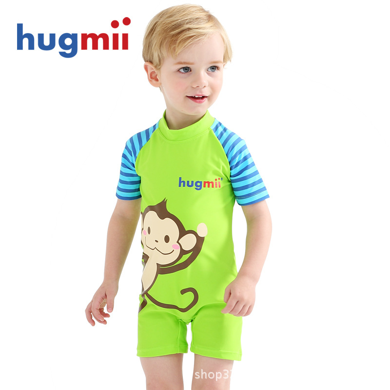Hugmii KID'S Swimwear One-piece BOY'S Baby Girls GIRL'S And BOY'S 1-12-Year-Old South Korea Sun-resistant Tour Bathing Suit Swim