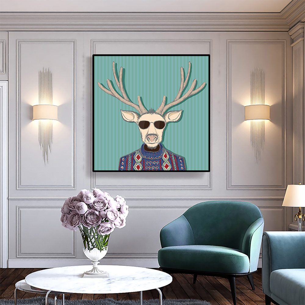Canvas Art Painting Elk Wearing Glasses And Clothes Wall Decor Art Poster Picture Modern Home Decoration For Office Living Room