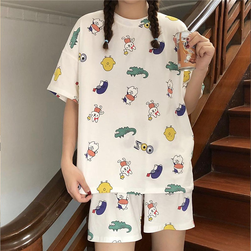 Women Summer Short-sleeved Pajama Sets Ladies Sweet Cute Loose Plus Size Girl Two-piece Soft Sleepwear
