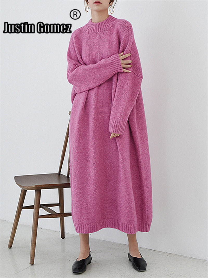 Chaud Sweters femmes Invierno 2019 femme pull tricoté pull robe à manches longues lâche décontracté épais laine femme robe pull