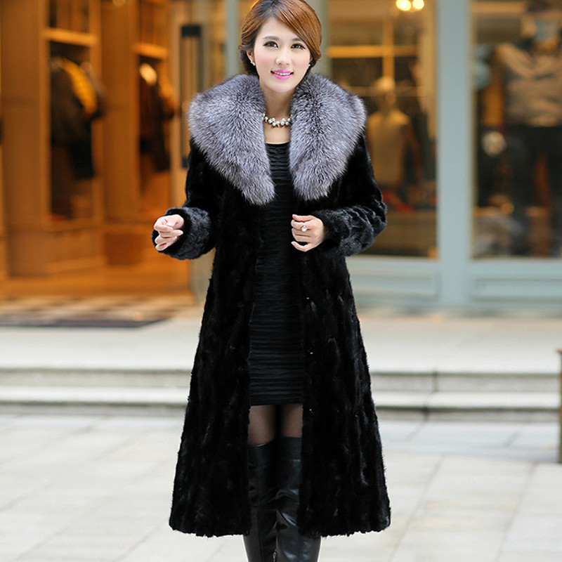 2019 Winter New Faux Fur Coat Female Long Section Imitation Fox Fur Collar Suede Coat Leisure 7XL Large Size Fur Jacket Women