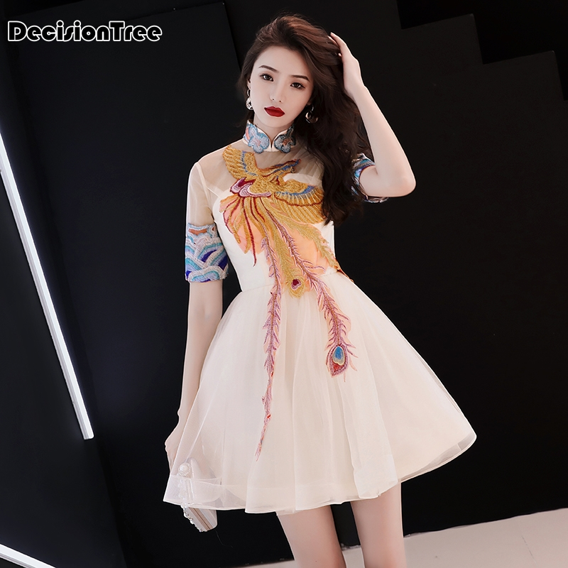 2020 Chinese Dress Qipao Women's Satin Cheongsam Evening Dress Chinese Oriental Qipao Dresses Phoenix Embroidery Retro Dress
