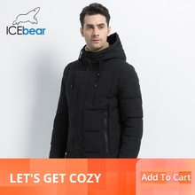 ICEbear 2019 new winter  fashion brand parkas mens jacket simple hooded coat knit cuff design males jackets MWD18926D