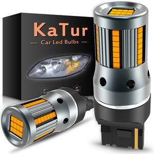 Image 1 - Clignotant, 2 pièces, sans erreur, lampe de voiture, ampoule 7440 BA15S P21W Canbus, ambre jaune, 12V, T20 LED W21W 1156