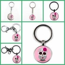 Fashion Cute Candy Color Skull Owl Photo Keychain Men Women Key Ring Cute Temperament Pendant Glass Charm Key Chain Gift Quality