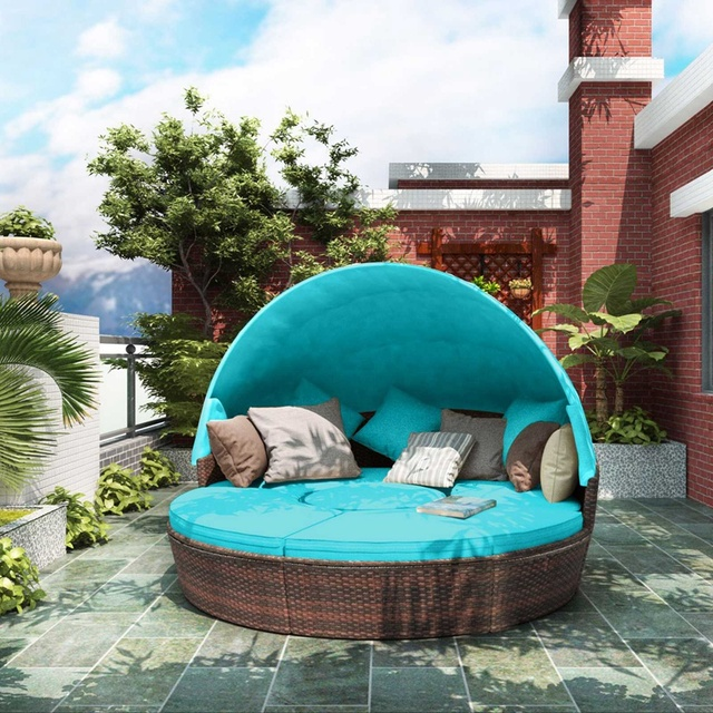 Round Outdoor Sectional Sofa Daybed With Retractable Canopy  1